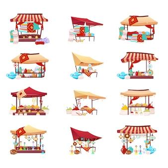 Bazaar handel tenten cartoon vector illustraties instellen. midden-oosten marktplaats egale kleur objecten. winkelluifel met souvenirs, handgemaakt aardewerk, waterpijp en vervaardigde tapijten geïsoleerd