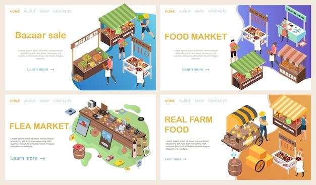 Bazaar webpagina isometrische set met horizontale bestemmingswebsite