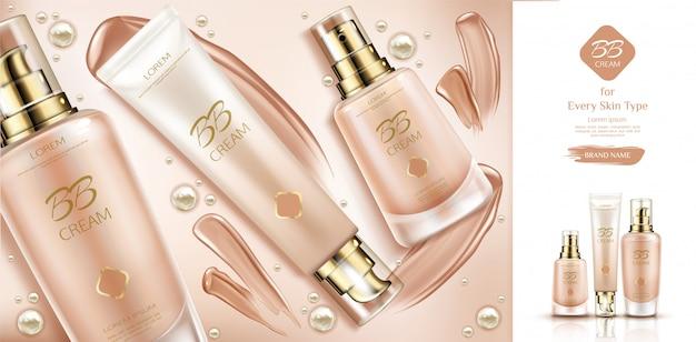 Bb cream beauty cosmetics en uitstrijkjes voor foundation op de huid.
