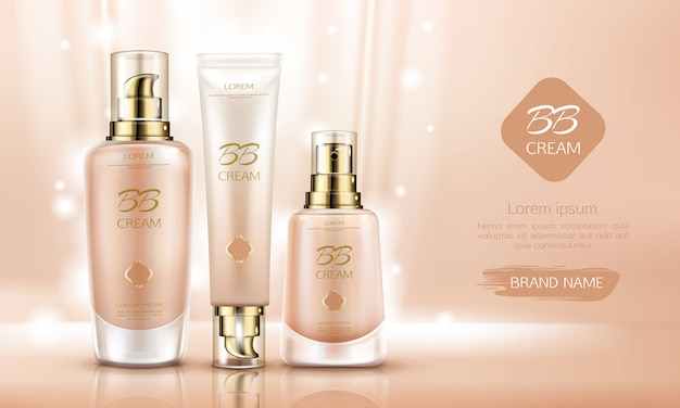Bb cream beauty cosmetics flessen voor foundation op de huid.
