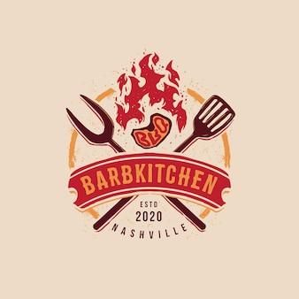Bbq badge embleem logo sjabloon barbkitchen bewerkbare tekst