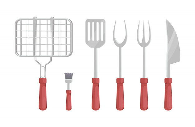 Bbq barbecue bestek pictogrammen illustratie