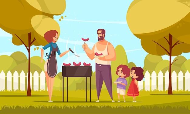 Bbq-barbecue-familiesamenstelling met doodle-personages van mama, papa en hun kinderen in een achtertuinillustratie