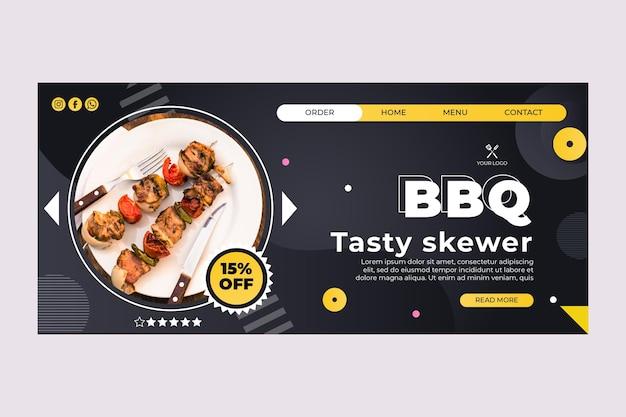 Bbq beste bestemmingspagina-sjabloon voor fastfoodrestaurants
