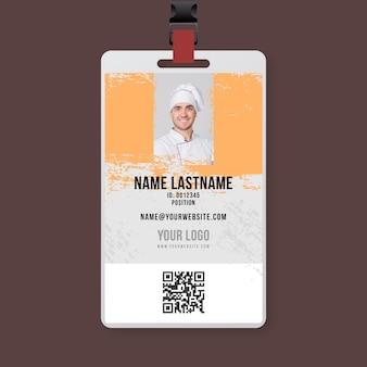 Bbq chef-kok id-kaartsjabloon