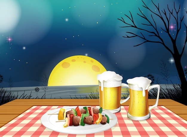 Bbq-diner met koud bier