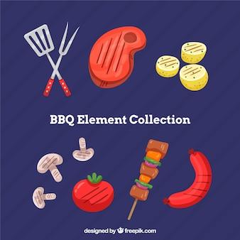 Bbq-elementen in plat ontwerp