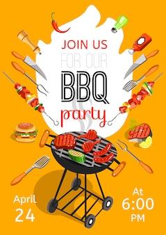 Bbq-feest aankondiging platte poster