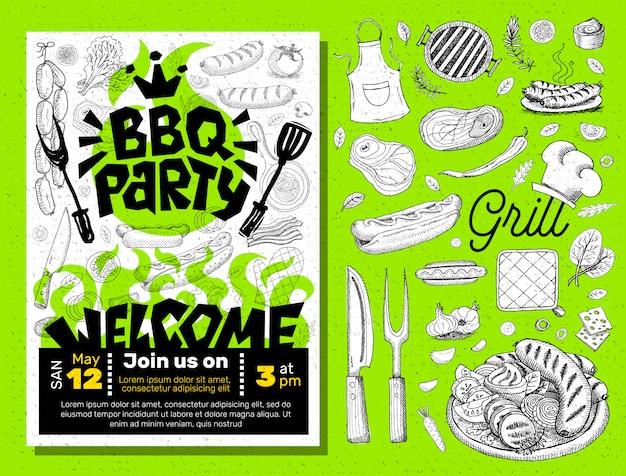 Bbq-feest eten poster.