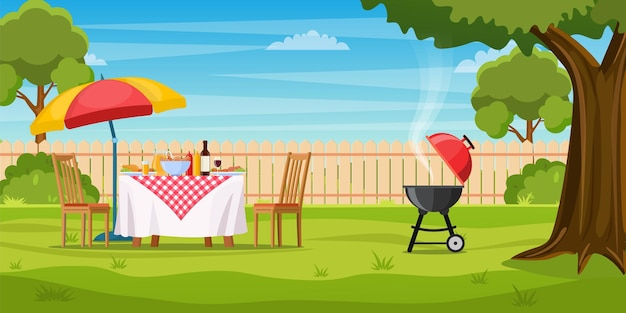 Bbq-feest in de achtertuin met hek, bomen, struiken.