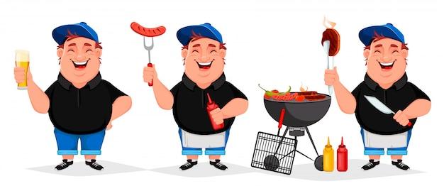 Bbq feest. jonge vrolijke man kookt gegrild voedsel