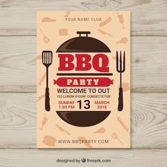 Bbq feestaffiche in plat ontwerp