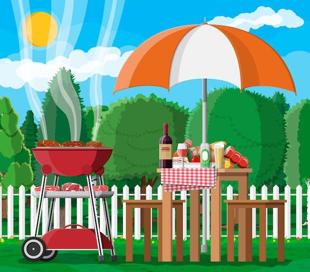 Bbq-feestje of picknick. tafel met fles wijn, groenten, kaas, blikje bier. elektrische grill met barbecue. biefstuk, vlees en worstjes koken, bbq grillen. vector illustratie vlakke stijl