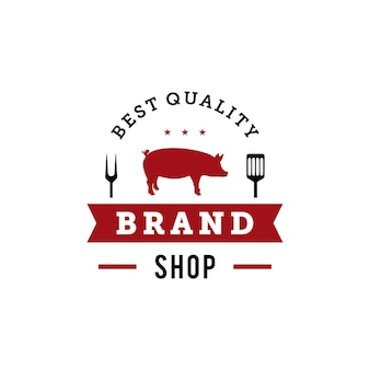 Bbq-grill badge logo ontwerpsjabloon