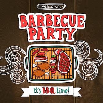 Bbq grill-feestaffiche