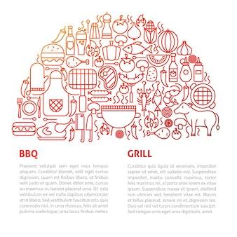 Bbq grill lijn sjabloon. vectorillustratie van schetsontwerp.