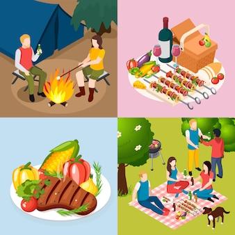 Bbq-grill picknick isometisch pictogrammenset met feest in bos diner grillplaat tent en kampvuur in het bos