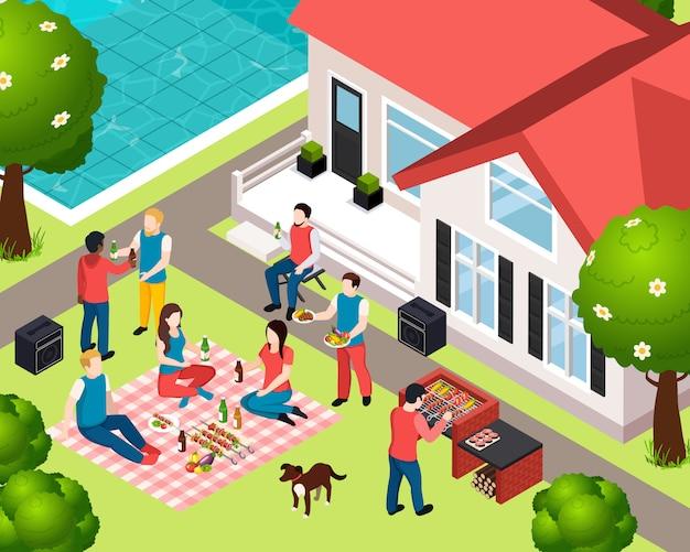Bbq-grill picknick isometrische samenstelling met gezelschap van vrienden op het feest in de achtertuin