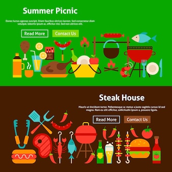 Bbq grill picknick website banners. vectorillustratie voor webkoptekst.