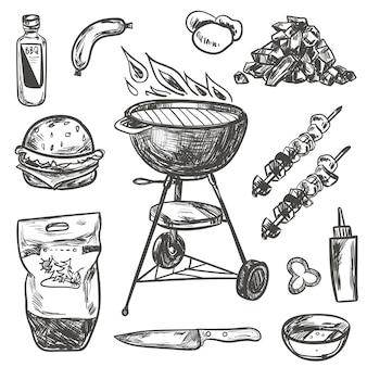 Bbq grill schets set. hand getrokken barbecue-collectie