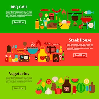 Bbq-grill webbanners. vlakke stijl vectorillustratie voor website header.