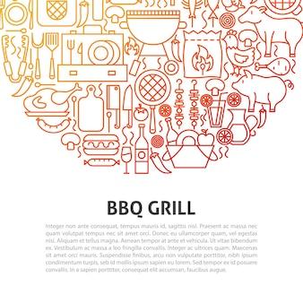 Bbq-grilllijnconcept. vectorillustratie van overzichtssjabloon.