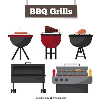 Bbq grills-collectie op plat ontwerp