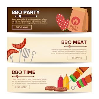 Bbq horizontale promo banner set