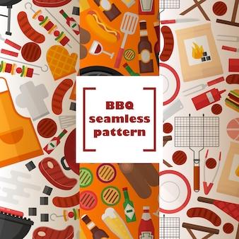 Bbq naadloos patroon gegrilde gerechten en accessoires