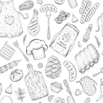 Bbq-naadloze patroon, barbecue achtergrond in schets stijl met grill eten. biefstuk, runderkebab, vis, worst, rib. barbecue doodle hand getekende illustratie.