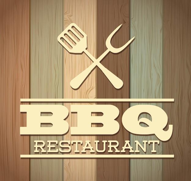 Bbq-ontwerp over houten achtergrond vectorillustratie
