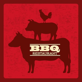 Bbq-ontwerp over rode achtergrond vectorillustratie