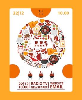 Bbq-partij aankondiging banner barbecue pictogrammen in ronde frame samenstelling