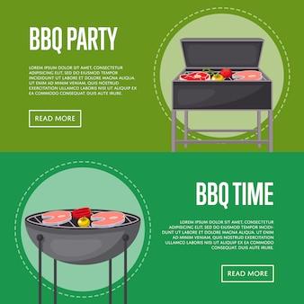 Bbq-partij banners met vlees op de barbecue