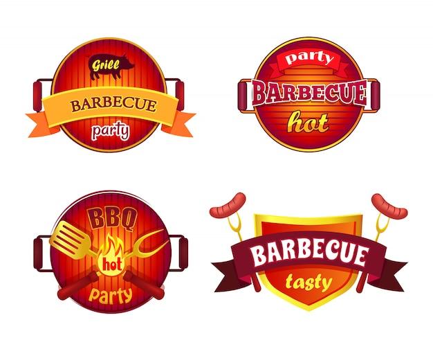Bbq-partij instellen pictogrammen barbecue illustratie