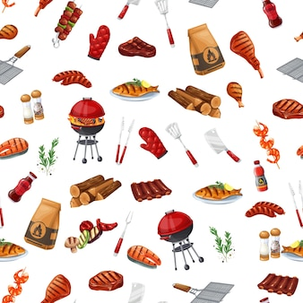 "Bbq-partij naadloos patroon, vectorillustratie. achtergrond met barbecue, grill of picknick. gegrilde zalm, worst, groenten, vlees steak ñ""ñ'ð² garnalen."