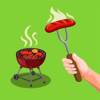 Bbq-partij steak vlees in de grill en hand met vork met worst symbool concept in cartoon afbeelding