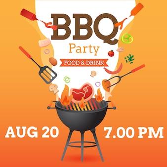 Bbq-partij uitnodiging poster sjabloon met grill en voedsel flyer vector vlakke stijl illustratie.