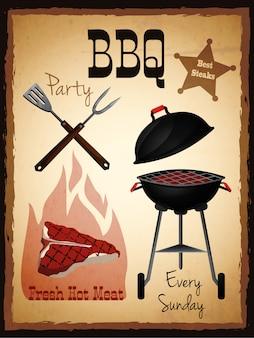 Bbq-partij uitnodiging poster