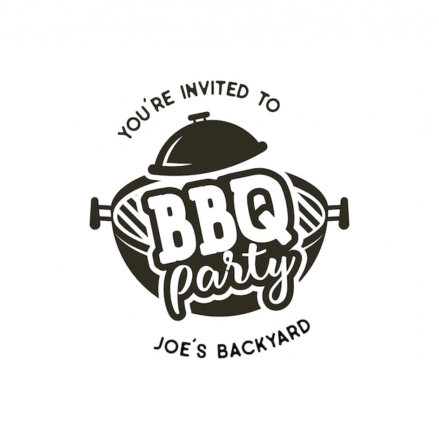 Bbq-party label in zwart-wit stijl.