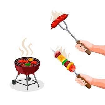 Bbq party steak, kaboob met groente en grill food. zomer seizoen voedsel symbool icoon collectie ingesteld in cartoon afbeelding op witte achtergrond