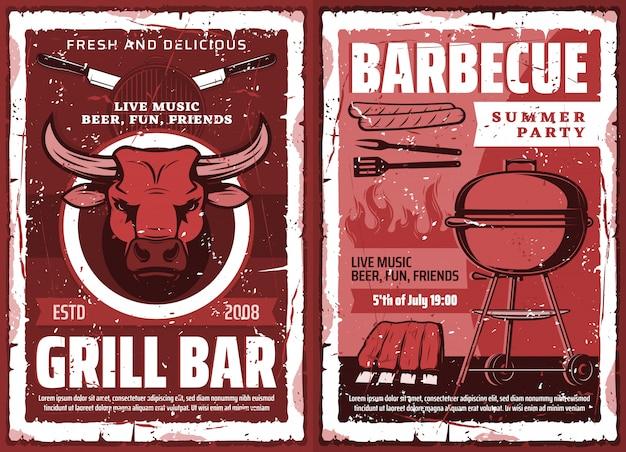 Bbq-picknick en barbecue grillfeest, retro poster