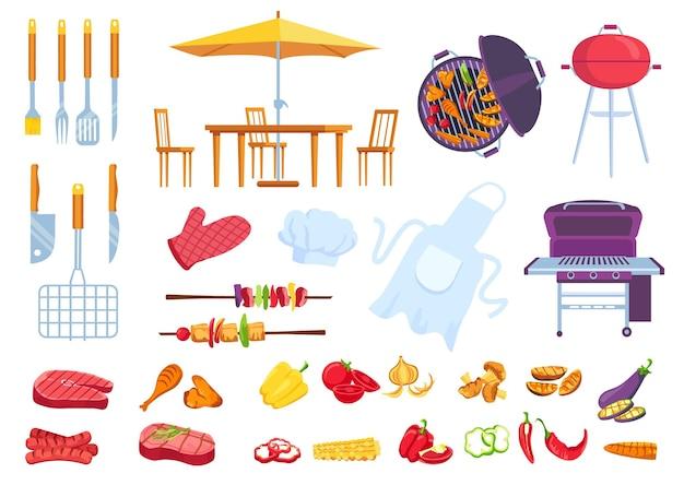 Bbq picknick eten. barbecue koken biefstuk, vlees, vis en kip. kookschort, spatel, vork en mes. cartoon zomer grill partij vector set. buitentafel met stoelen en grote parasol