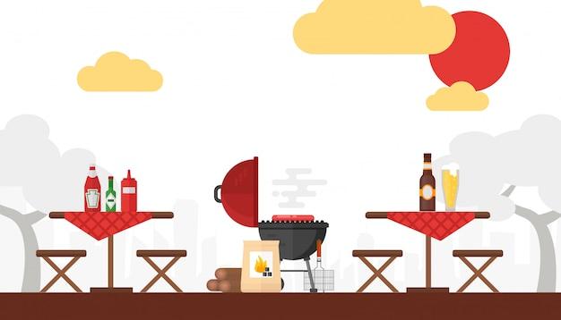 Bbq-picknick grillen buiten zomerweekend koken op vuur eenvoudige achtergrond in vlakke stijl