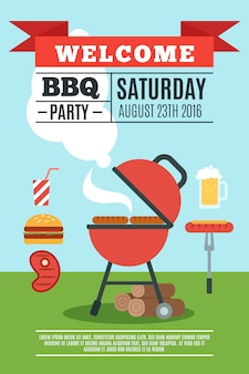 Bbq-poster illustratie