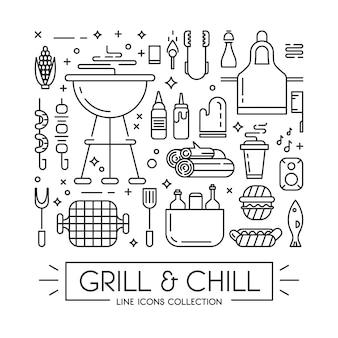 Bbq-seizoen opening partij aankondiging platte poster met barbecue accessoires