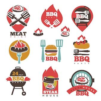 Bbq steak party house vlees punt tekenen collectie