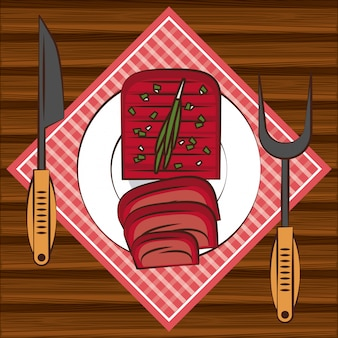 Bbq steakhouse ingrediënten op tafel