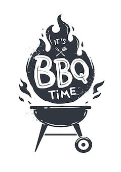Bbq-tijd. barbecue feestje. vintage ontwerp