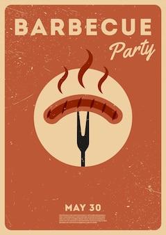 Bbq tijd. barbecue feestje. vintage poster. herdenkingsdag